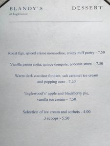 Dessert menu at Blandy's