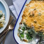gnocchi, kale and spinach gratin