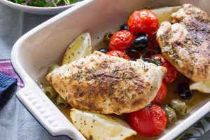 chicken tray bake with tomatoes and olives
