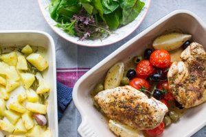 Greek chicken tray bake