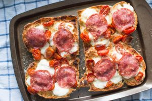 Ciabatta with salami, mozzarella and tomatoes
