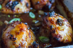 sticky soy and chilli chicken close up