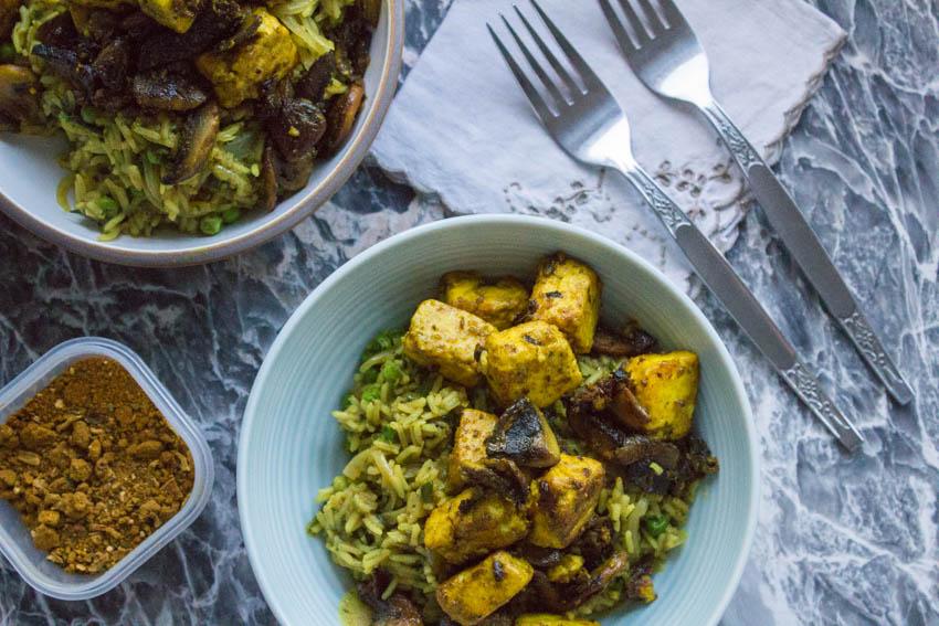 vegetable keema rice with crispy paneer