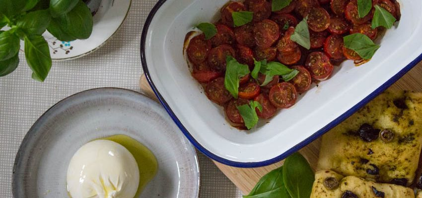 Roasted Tomatoes and Burrata