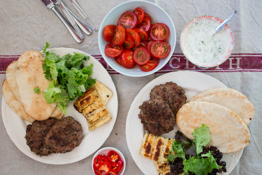Lamb kebabs with halloumi and pitta bread