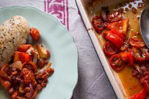 finished chicken and chorizo tray bake