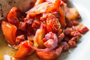 chorizo, tomato, pepper and onion tray bake mix