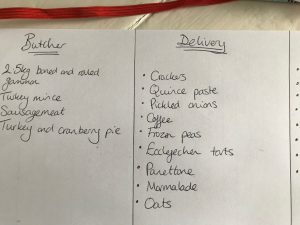 Christmas Meal Plan, ingredients list