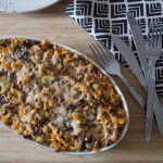 Creamy Lentil Pasta Bake with cheese topping