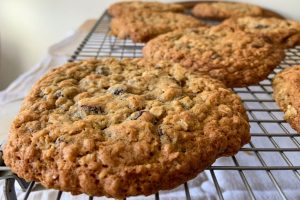 Oat and Raisin Cookies close up