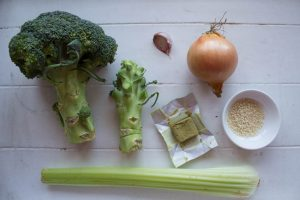 Ingredients for broccoli stalk soup