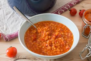 bowl of lentil and tomato soup