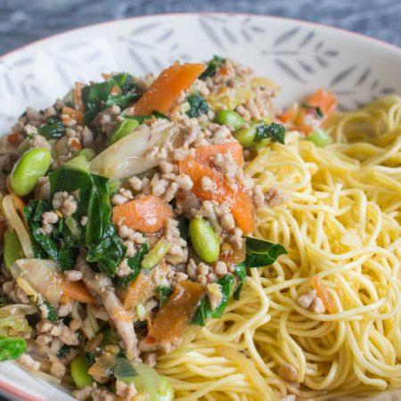 chard, kohlrabi and vegetable stir fry