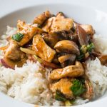 kung pao chicken with mushrooms and rice
