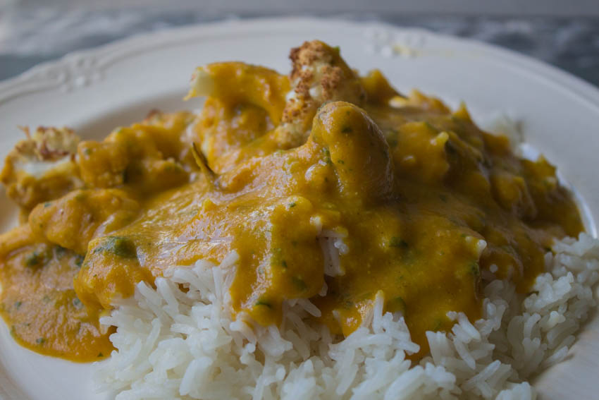 cauliflower korma with rice