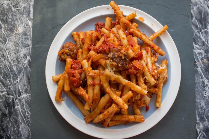 Meatballs, tomato sauce and mozzarella pasta bake