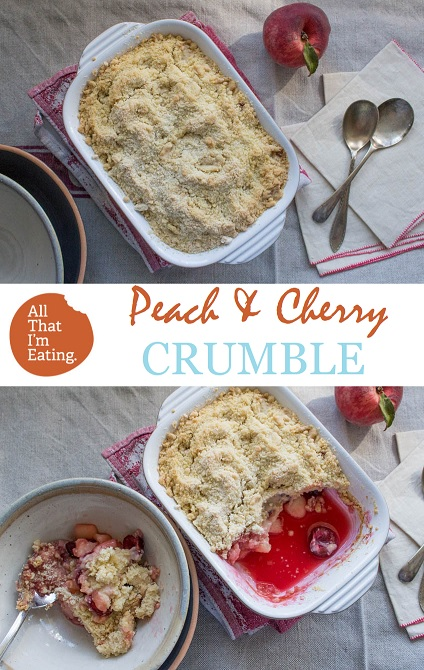 pin peach and cherry crumble
