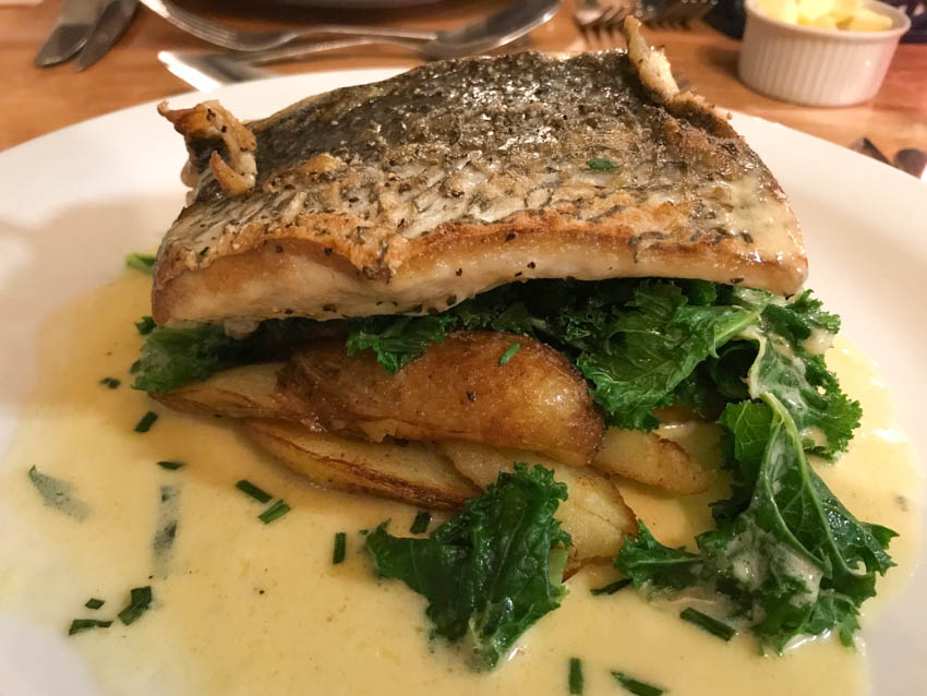 Stone bass and beurre blanc