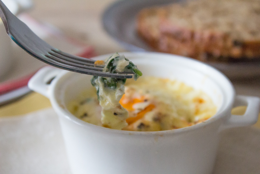 Baked Eggs with Spinach and Cheddar