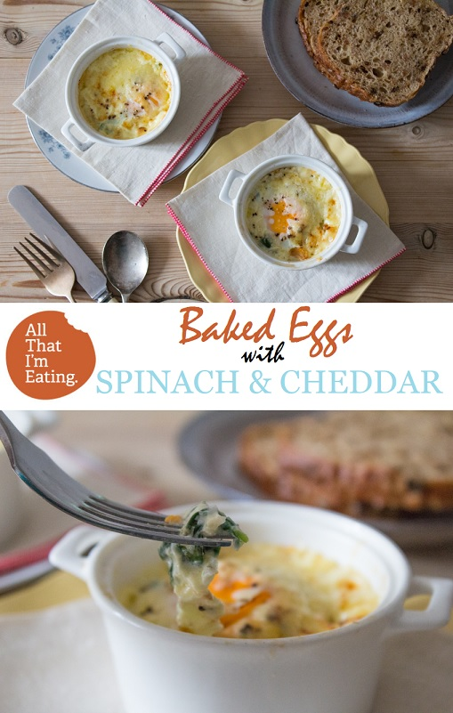 Baked Eggs with Cheddar and Spinach