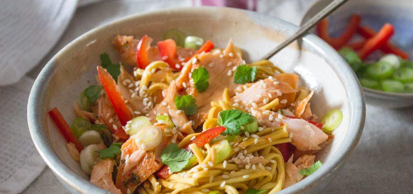 Five Minute Salmon Noodles