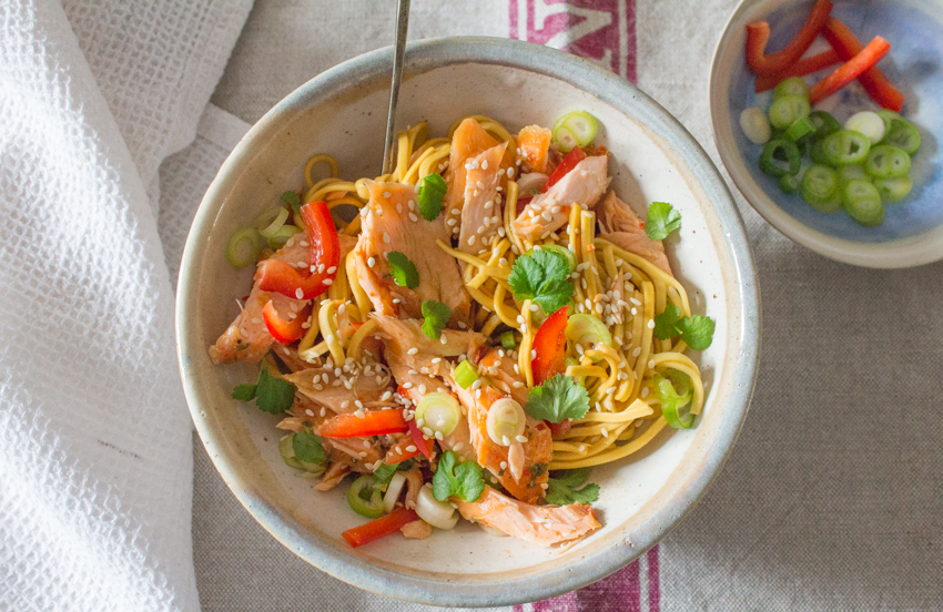 Five Minute Salmon Noodles